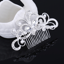 2017 New fashion Hair jewelry rhinestone silver plated wedding hair accessories hair pin head piece bridal tiara and crown