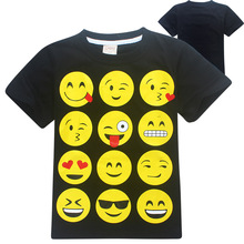 2017 Summer T-shirt Kids SMILEY FACES Print Tops For Boys Girls Tees Black Shirt For School Girls Boys Clothes(China)