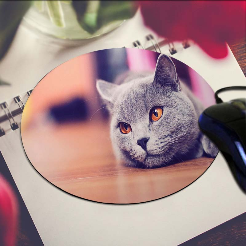 Grey Cat Art Print Mouse Pad Anti-Slip Round Mousepad Gift Gaming Speed Mice Mats