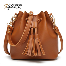 Promotion Big Capacity Tassel String Solid Soft Pu Leather Brown Women Crossbody Bag New Female Luxury Designer Shoulder Bags