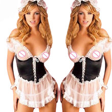 Buy france styles sex maid uniform plus size women sexy lingerie hot Perspective lace cosplay lenceria sexy costumes underwear XXXL