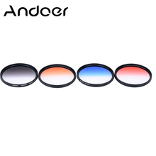 Andoer 67mm GND Graduated Filter Set GND4(0.6) Gray Blue Orange Red Graduated Filter for Canon Nikon DSLR 67mm Camera Lens