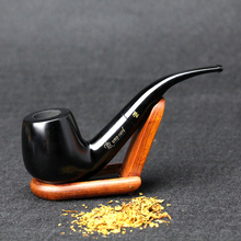 New Ebony Wood Pipe 15cm Bent Black Smoking Pipe Handmade Tobacco Pipe 9mm Filter Wooden Pipe with Tools SP-002