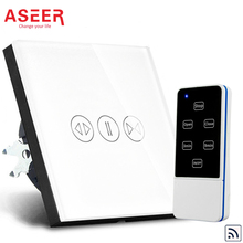 ASEER 1000W EU Standard Tempered Glass Panel Wireless Electric Touch Curtain Wall Switch ,110-240V led indicator+Remote Control