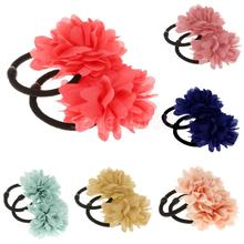 2Pcs Elastic Flower Hair Band Ponios Bobbles Girls Ponytail Hair Accessories(China)