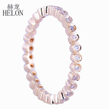 HELON Natural Diamond Wedding Ring Solid 10k Yellow Gold Fine Jewelry Women's Real Diamonds Engagement Anniversary Ring(China)
