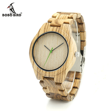 BOBO BIRD K26 Zebra Wood Mens Watch Basic Green Second Hand Wood Dial Quartz Wristwatch Wood/Leather Strap Available in Gift Box