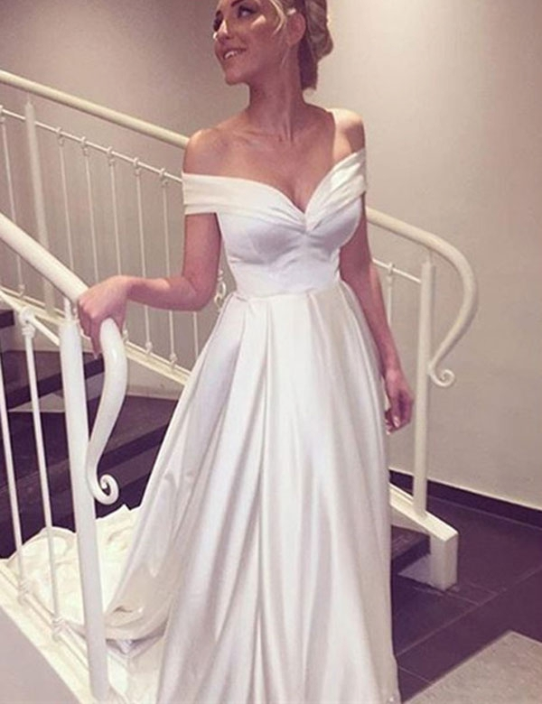 2019 A Line Satin Wedding Dresses Floor Length Train Custom made Plus size White Wedding Gown robe de mariee