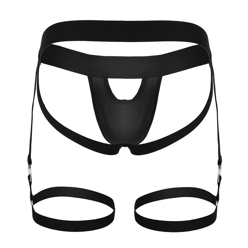 ACSUSS Mens Sissy Low Rise Stretchy Jockstrap G-String Lingerie Underwear with Leg Garters Band