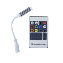 Mini RGB Led Controller RF 20Keys Wireless 6A Remote Control with DC Connector to Control Led Strip Light SMD5050 DC12V 24V 3*4A