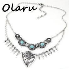 Olaru Jewelry Fashion Vintage stone Triangle Choker Necklace Elegant Multilayer Boho Maxi Necklaces For Woman New C-h172(China)