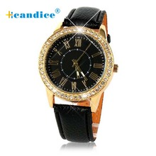 Splendid  Bling Gold Crystal Women Luxury Leather Strap Quartz Casual Wristwatches Designer Watches Women