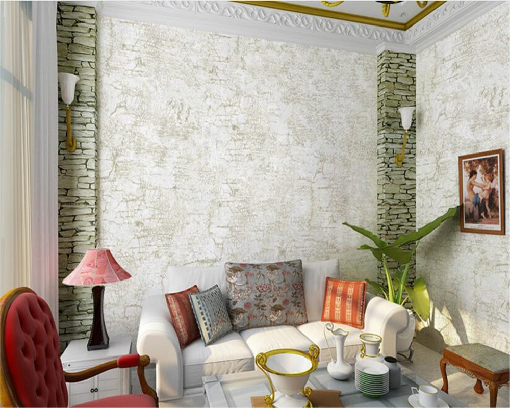beibehang Retro fashion personality simple imitation stone pattern nonwoven wallpaper multi-color papel de parede 3d wallpaper<br>