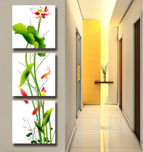 Vertical section unframed canvas painting 3 piece canvas art posters and prints home decor oil painting modern flowers lotus