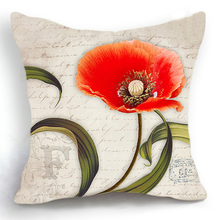 vintage Poppy Flower Design Cushion Cover red Poppy Throw Pillow Case Modern Fashion Decorative Floral Pillowcases 45*45 CM(China)
