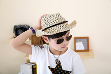 Baby Girls Boys Straw Wide Brim Sun Hat Cool Kids Summer Western Cowboy Hat One Size Cap 6 Colors KL75