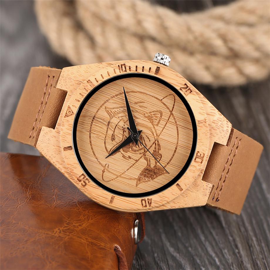 ทำมือไม้ไผ่นาฬิกาสำหรับผู้ชายผู้หญิงS CulptedออกแบบฉลามแบบDialหนังแท้สายคล้องสายนาฬิกาข้อมือ 4
