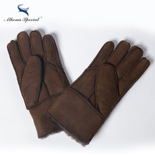 Athena Special Winter Fashion Real Leather Wool Fur Men's Gloves Heavy Type Warming Male Sheepskin Leather Fur Gloves(China)