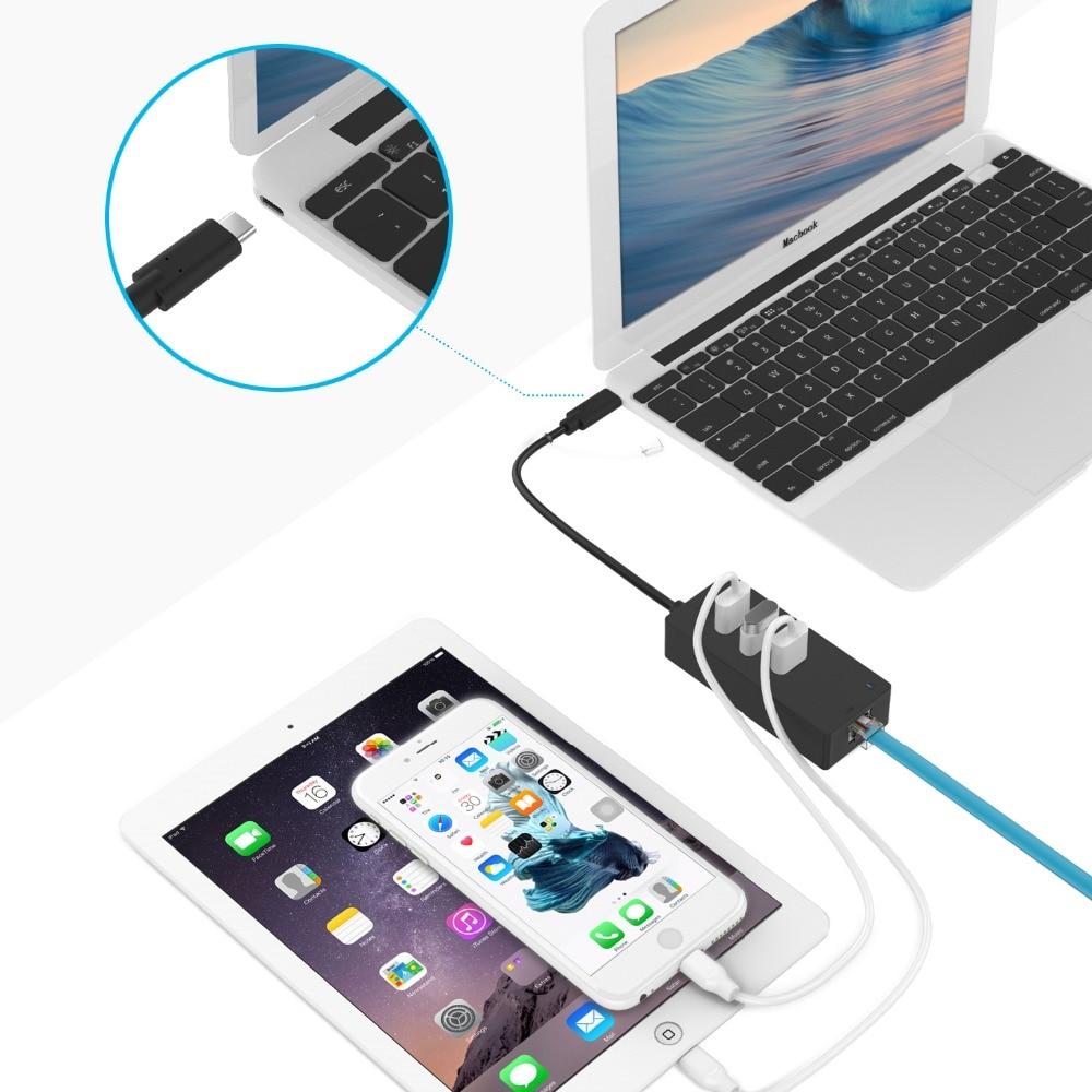 ICZI Multi-Function USB Type C Hub Super Speed External 3 Port Usb 3.0 Splitter With 10/100Mbps Network Ethernet RJ45 Adapter