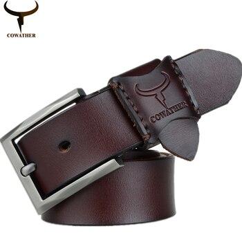 COWATHER caliente 2016 mens vaca cinturones de cuero genuino para los hombres nueva llegada de la buena calidad male correa cinturones hombre envío libre