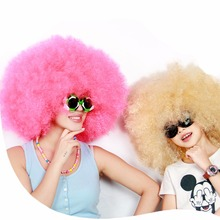 Fashion 200g Super Fluffy Afro Wig Dance Party Synthetic Fiber Beige Pink Wigs Ball Fans Halloween Christmas Peruca
