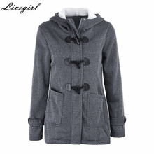 Women Casual Coat Autumn Winter Women's Overcoat Female Hooded Coat Zipper Horn Button Outwear Jacket Women Overcoat(China)