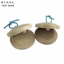 Orff world A Pair Wooden Castanets Wood Percussion Flamenco Musical Instrument Education Child's Intellectual Development Listen(China)