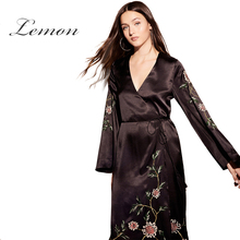 Lemon Apparel 2017 Black Floral Embroidery Long Line Dress Women Deep V-neck Lace-up Belt Long Dress Lady Japan Style Vestidos(China)