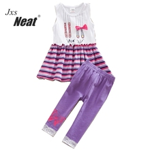NEAT 2017 new girl dress with trousers suit discount with clothes set girl cartoon pattern decoration purple trousers SD6618#(China)