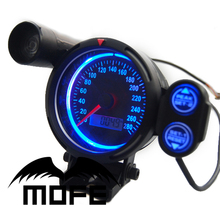 SPECIAL OFFER Original Logo White LED + Black LCD + Green Shift Light 80mm Odometer Digital Auto Car Speedometer Meter Gauge(China)