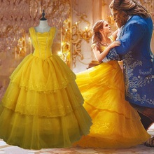 the beauty and the beast belle kids children dress beautiful 2017 cosplay party adult princess women girl costumes plus size(China)