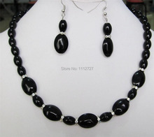 "Beautiful 8X12MM & 13X18mm new Black Onyx Gems Necklace Beads Stone 18 ""Earrings Jewelry sets BV368 Wholesale Price"