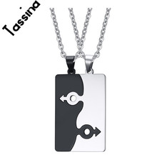 Tassina Pair LGBT Pendants Necklace For Gay Stainless Steel Link Chain Necklace Jewelry Romantic Design Love Forever TNPPN038(China)