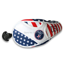 USA Flag Thick PU Leather Golf UT Cover Headcover Golf Hybrid Headcover Utility Rescue Number Tag(China)