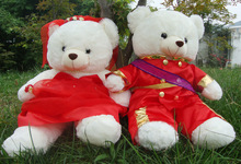 stuffed toy Military uniform bridegroom, bride bear wedding bears plush toys, couples bears doll ,proposal ,wedding gift t6671(China)
