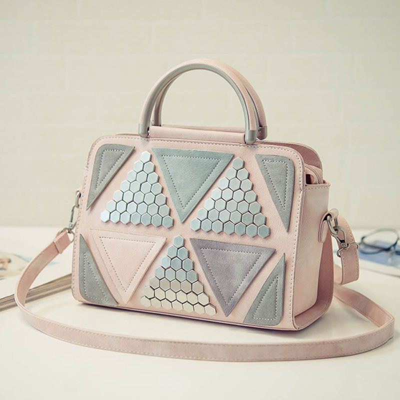 2017 New Womens Top-Handle Bags Splice Shoulder Bags Ladies Rivet Patchwork Tote Bags Messenger Bag<br><br>Aliexpress