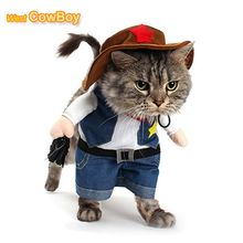 Funny Pet Costume Cat Dog Cowboy Cosplay Suit Halloween Christmas Uniform Clothes Puppy Hat Suit Dressing Up Party Clothing(China)