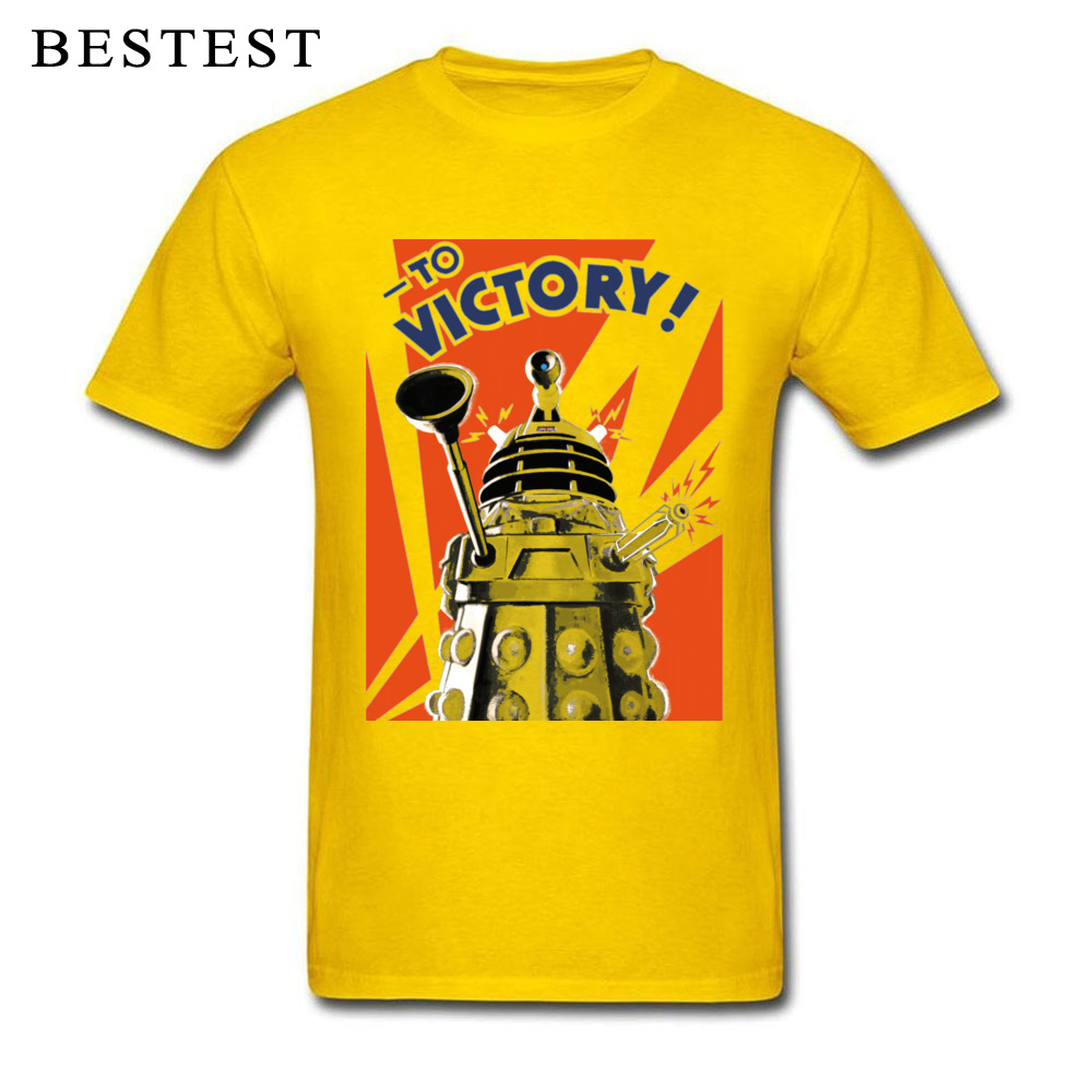 Comics Dalek Victory 5736 Top T-shirts 2018 Lovers Day Short Sleeve Crewneck Tops T Shirt Pure Cotton Men's Printed On Tee Shirt Dalek Victory 5736 yellow