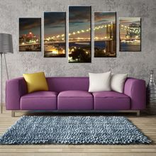 Modern 5PCS Giclee Canvas Prints on Canvas Wall Art Work Brooklyn Bridge Landscape Picture Photo Painting for Bedroom Home Decor