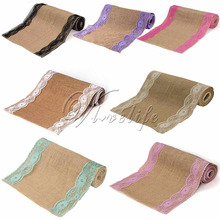 "10Pcs/Lot Vintage Burlap Lace Hessian Table Runner Classical Natural Jute Country Party Wedding Decoration 12x108"" Table Cloth(China)"