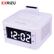 EXRIZU Bluetooth Speaker Stereo Music Player Alarm LCD Clock Radio Dock Handsfree SNOOZE SLEEP AUX for iPhone 6 7 Plus Samsung