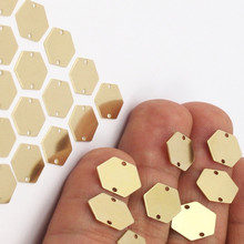 100pc.. Raw Brass Hexagon Stamping Blanks, Tags, 2 hole..sz (12mm) --ya0794
