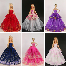 New arrival 15 items = 5 Wedding Dress Princess Gown +5Pairs Shoes + 5 accessory Clothes For Barbie Doll good gift for baby(China)