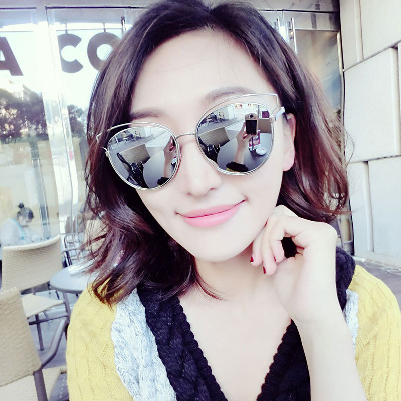 Luxury glass Flat Top Cat Eye Sunglasses Women single Beam Sunglasses Coating lady sunglasses shade uv400 protection eyeglasses<br><br>Aliexpress