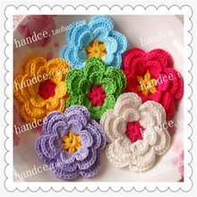 2016 new Korean 4.8cm 6pic/lot 100% natural cotton crochet lace rose petals as scrapbooking for Christmas decoration flower(China)