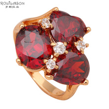 Exaggerated ring Gold tone Health Jewelry Nickel & Lead Free Garnet Zircon Element Ring Sz #5.5#6.75#7.5#8.5#7.75 JR1843(China)
