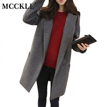 MCCKLE Fashion Brand Design Coat Women Cotton-Padded Wool Long Jacket Coat Womens Elegant Solid Thicken Cashmere Outwear Ladies
