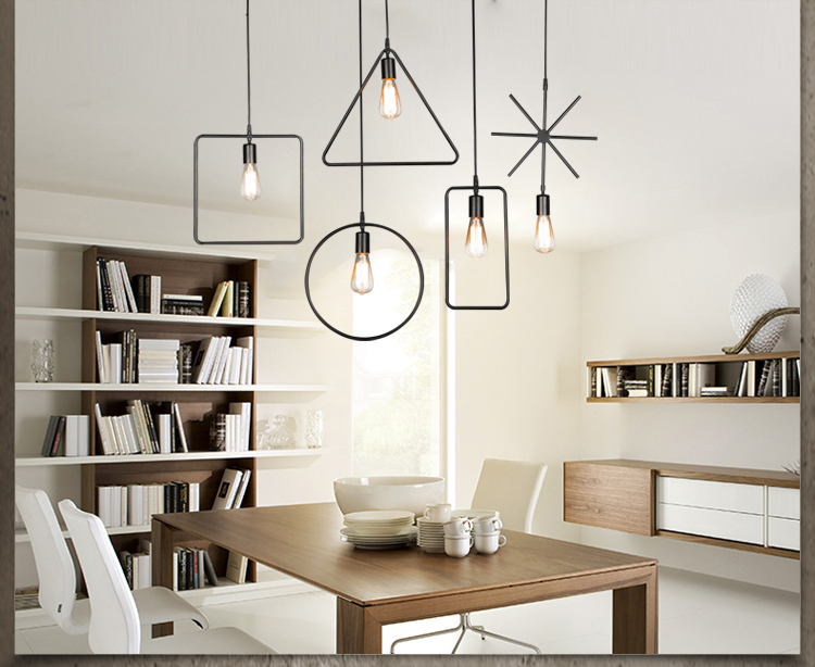 Retro chandelier creative personality Nordic simple iron LOFT clothing store bar cafe single head geometry lamps<br>