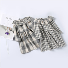 Cute Infant Baby Girl's Princess Long Sleeve Dress Fashion Plaid Dress Toddler Children Clothes 2017 New Autumn Brand Design
