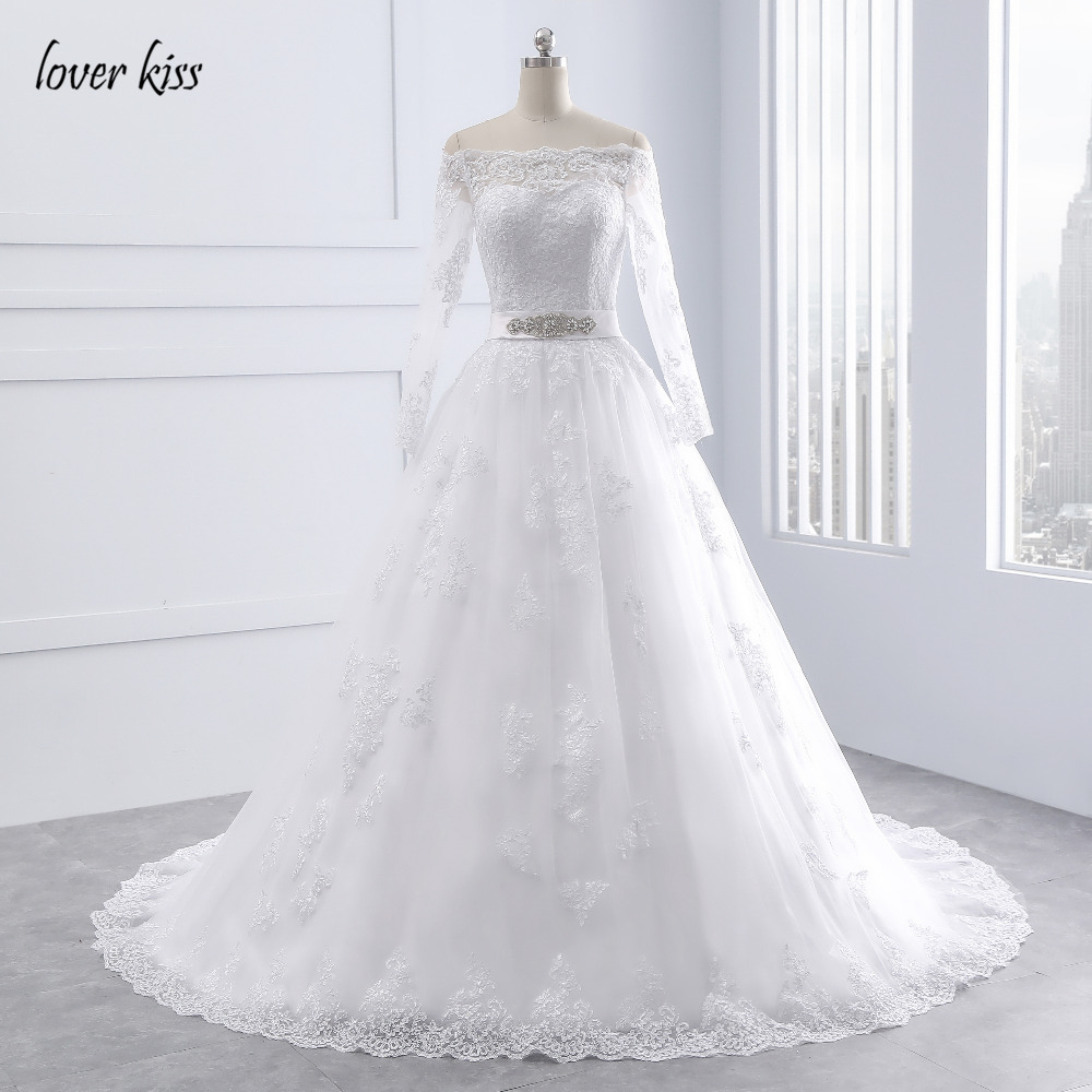 Lover Kiss Wedding Dresses Princess Lace Bridal Bride Gowns with veil robe de mariage Luxury Vintage Long Sleeves off Shoulder 13